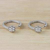 Sterling silver hoop earrings, 'Cute Daisies' - Sterling Silver and CZ Hoop Earrings from Thailand