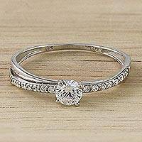Sterling silver solitaire ring, 'Cool Sparkle' - Sterling Silver and CZ Solitaire Ring from Thailand