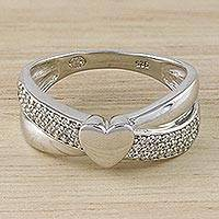 Sterling silver band ring, 'Reflection of Love' - Heart Motif Sterling Silver Band Ring from Thailand
