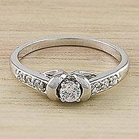 Sterling silver solitaire ring, 'Sparkling Woman' - Sparkling Sterling Silver Solitaire Ring from Thailand