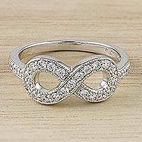 Sterling silver band ring, 'The Infinity' - Infinity Motif Sterling Silver Band Ring from Thailand