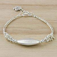 Silver beaded pendant bracelet, 'Abstract Moon' - Karen Silver Beaded Pendant Bracelet from Thailand