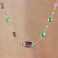 Gold plated multi-gemstone pendant necklace, 'Forest Temptation' - Gold Plated Multi-Gem Pendant Necklace from Thailand