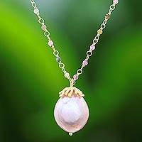 Gold plated cultured pearl and tourmaline pendant necklace, 'Glamorous Bud in Pink' - Gold Plated Pink Cultured Pearl and Tourmaline Necklace