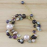 Gold plated multi-gemstone charm bracelet, 'Pretty Harmony' - Gold Plated Multi-Gemstone Charm Bracelet from Thailand