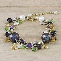 Gold plated multi-gemstone charm bracelet, 'Pretty Harmony in Brown' - Multi-Gemstone Charm Bracelet in Brown from Thailand