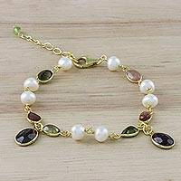 Gold plated multi-gemstone link bracelet, 'Precious Time' - 18k Gold Plated Multi-Gem Link Bracelet from Thailand