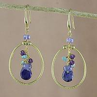 Gold plated multi-gemstone dangle earrings, 'Majestic Rings in Blue' - Gold Plated Multi-Gemstone Dangle Earrings in Blue