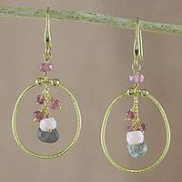 Gold plated multi-gemstone dangle earrings, 'Majestic Rings' - Gold Plated Multi-Gemstone Dangle Earrings from Thailand