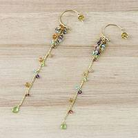 Gold plated multi-gemstone dangle earrings, 'Colorful Trees' - Gold Plated Multi-Gemstone Cluster Dangle Earrings
