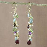 Gold plated multi-gemstone dangle earrings, 'Way of Love' - 18k Gold Plated Multi-Gemstone Cluster Dangle Earrings