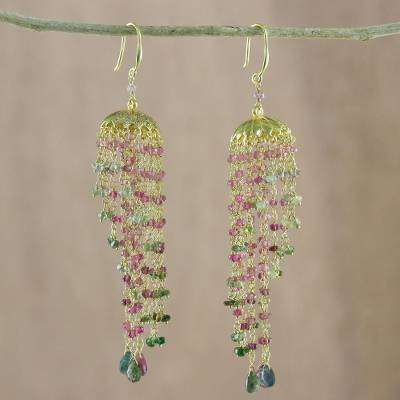 Gold plated tourmaline chandelier earrings, 'Majestic Domes' - Gold Plated Tourmaline Chandelier Earrings from Thailand