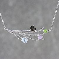 Multi-gemstone pendant necklace, 'Changing of the Seasons' - Four Stone Multi-Gem Pendant Necklace from Thailand