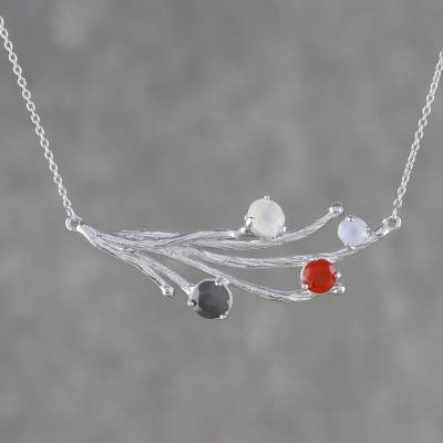 Multi-gemstone pendant necklace, 'Seasonal Night' - Multi-Gemstone Pendant Necklace from Thailand