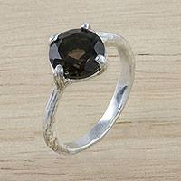 Smoky quartz solitaire ring, 'A Singular Melody' - Smoky Quartz Solitaire Ring Crafted in India