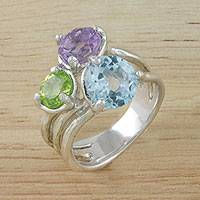 Multi-gemstone cocktail ring, 'Candy Sparkle' - Sparkling Multi-Gemstone Wrap Ring from Thailand