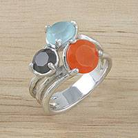 Multi-gemstone cocktail ring, 'Autumn Love' - Autumnal Multi-Gemstone Cocktail Ring from Thailand