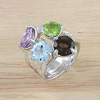 Multi-gemstone cocktail ring, 'Changing of the Seasons' - Four Stone Multi-Gem Cocktail Ring from Thailand