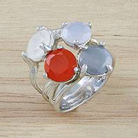 Multi-gemstone cocktail ring, 'Seasonal Night' - Multi-Gemstone Cocktail Ring Crafted in Thailand