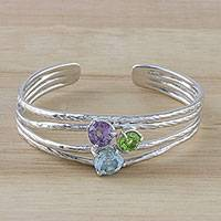 Multi-gemstone cuff bracelet, 'Candy Sparkle' - Sparkling Multi-Gemstone Cuff Bracelet from Thailand