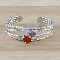 Multi-gemstone cocktail ring, 'Autumn Love' - Multi-Gemstone Cuff Bracelet from Thailand
