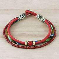 Cotton beaded bracelet, 'Eclectic Red' - Cotton and Glass Beaded Eclectic Boho Fabric Bracelet