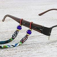 Beaded cotton eyeglasses cord, 'Forest Focus' - Multi-Colored Patterned Beaded Cotton Eyeglasses Cord