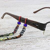 Beaded cotton eyeglasses cord, 'Geometric Focus' - Adjustable Beaded Cotton Geometric Eyeglasses Cord