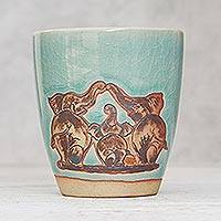Celadon ceramic cup, 'Cozy Bond' - Elephant Motif Celadon Ceramic Cup from Thailand
