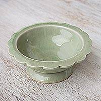 Small celadon ceramic bowl, 'Celadon Flower' - Handmade Small Celadon Ceramic Bowl from Thailand