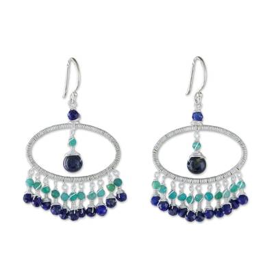 Lapis Lazuli and Amazonite Waterfall Earrings from Thailand