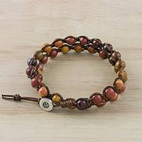 Jasper beaded wrap bracelet, 'Fiery Orbs' - Jasper and Leather Beaded Wrap Bracelet from Thailand