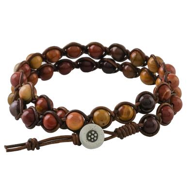 Jasper beaded wrap bracelet, 'Fiery Orbs' - Jasper and Leather Beaded Wrap Bracelet from Thailand