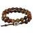 Jasper beaded wrap bracelet, 'Fiery Orbs' - Jasper and Leather Beaded Wrap Bracelet from Thailand (image 2a) thumbail