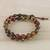 Jasper beaded wrap bracelet, 'Fiery Orbs' - Jasper and Leather Beaded Wrap Bracelet from Thailand (image 2b) thumbail