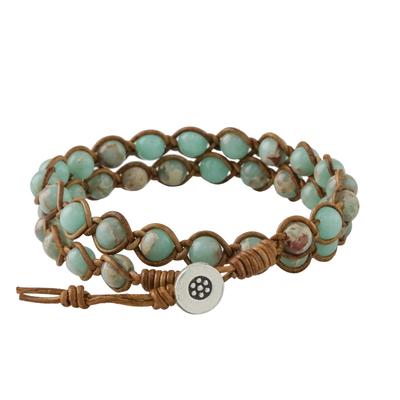 Jasper beaded wrap bracelet, 'Sky Orbs' - Jasper Beaded Wrap Bracelet in Blue from Thailand
