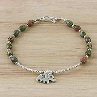 Unakite beaded charm bracelet, 'Elephant Forest' - Sterling Silver and Unakite Beaded Elephant Charm Bracelet