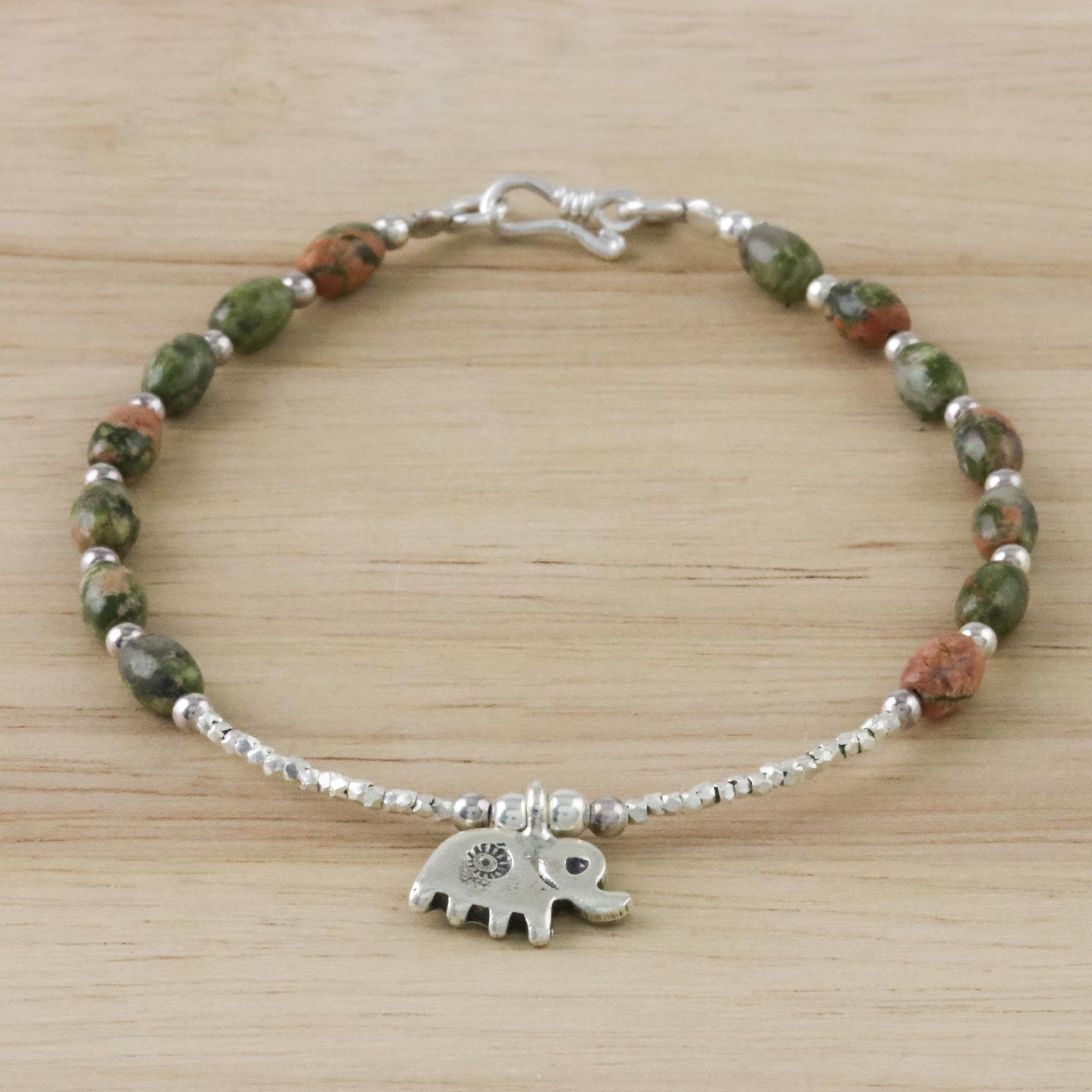 32b5cb3b2d4ea Sterling Silver and Unakite Beaded Elephant Charm Bracelet, 'Elephant  Forest'