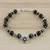 Agate beaded bracelet, 'Shadow Bloom' - Black Agate and Thai Hill Tribe Silver Floral Charm Bracelet