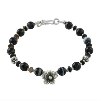 Black Agate and Thai Hill Tribe Silver Floral Charm Bracelet