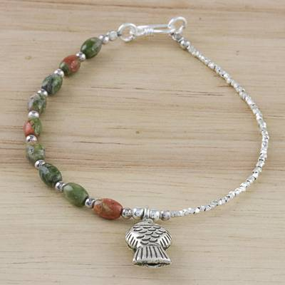 572b7d9b1949d Unakite and Sterling Silver Beaded Fish Charm Bracelet, 'Fisherman Forest'