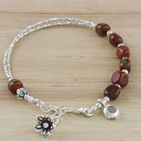 Jasper beaded charm bracelet, 'Red Garden' - Hill Tribe Silver and Red Jasper Beaded Charm Bracelet