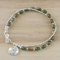 Unakite beaded charm bracelet, 'Village Landscape' - Sterling Silver and Unakite Beaded Floral Charm Bracelet