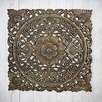 Teakwood relief panel, 'Flower Garden' - Square Floral Teakwood Relief Panel from Thailand