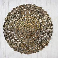 Teakwood relief panel, 'Round Flower Garden' - Circular Floral Teakwood Relief Panel from Thailand
