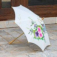 Cotton parasol, 'Birds and Flowers' - Handmade Thai Cotton and Bamboo Parasol