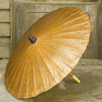 Paper parasol, 'Saddle Brown' - Tan Paper Parasol with Bamboo Frame