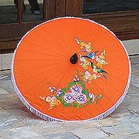 Parasol, 'Birds and Flowers on Orange' - Artisan Crafted Parasol in Orange with Birds and Flowers