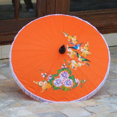 Parasol, Birds and Flowers on Orange