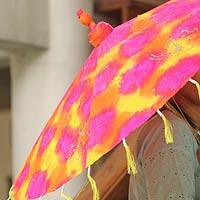 Saa paper parasol, 'Fire Wheel' - Multicolored Floral Saa Paper Parasol